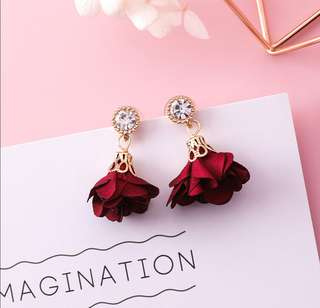 Red flower drop earring