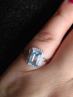 🍀$68 Fixed Price Promo - Natural Rectangle Blue topaz Ring🍀