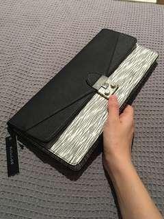 Portmans NEW clutch purse black and white