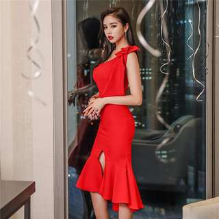 Formal: Red Grace Bowknot Off Shoulder Fishtail Dress (S / M / L / XL) - OA/YYE030409