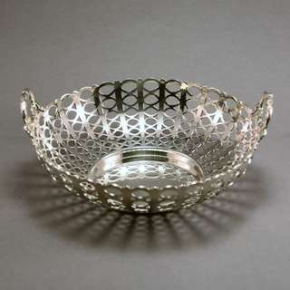 Antique George V sterling silver circular two-handled basket 1913