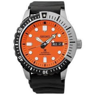 Seiko Prospex SRP589K1 Automatic Diver Orange Black Rubber Jam Pria SRP589