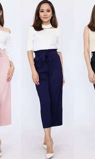High Waist Pleated Navy Blue Bottom
