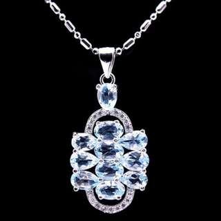 UNIQUE LUXURY PENDANT BLUE SKY TOPAZ PLATED WHITE GOLD + NECKLACE