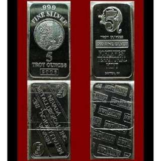 ♦ [Select >] USA. NMI or NWTM - Classic Vintage. 1x 5 Troy Oz. 999 Fine Silver bar