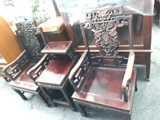 3 pcs Antique rosewood chair set.