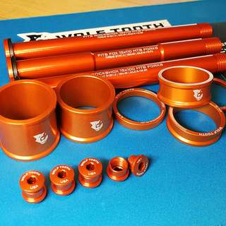 Wolf Tooth Components - Orange blings to match Rockshox Fork - Stem spacers/ Axle Boost & non boost(RS or FOX)/ chainring bolts & stem cap