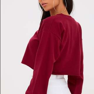 cropped maroon sweater
