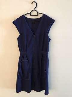 Asos Zip Up Dress in blue