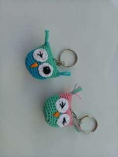 Owl crochet key chain