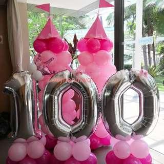 Castle / Princess balloon columns - Princess balloon decoration for birthday parties / 100 days celebrations etc