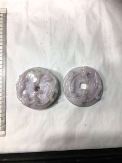 (中古)天然A玉粉紫雙䝛貅大花件