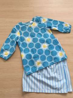 Blue & Yellow Flower Baju Kurung