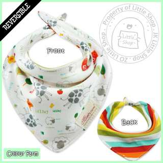 100% Cotton Mom's Care Baby Reversible Drool Bibs - Colour Farm