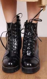 Thejuicemarket combat heel boots