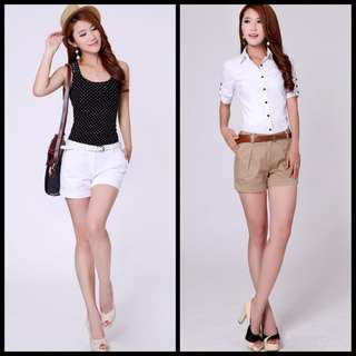 Woman Shorts Size S-3XL New Fashion Design Lady Casual Short Trousers Solid Color Khaki / White