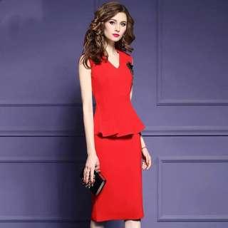 Red peplum dress plus size