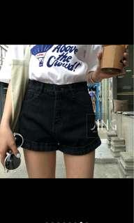 黑色高腰韓版短褲