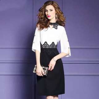 White lace stitching contrast coloured dress  plus size
