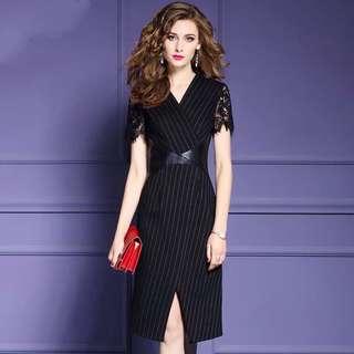 Black striped dress  plus size