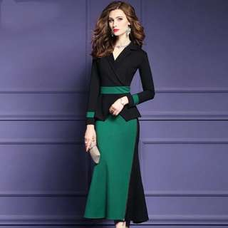 One piece contrast coloured office lady dress  plus size