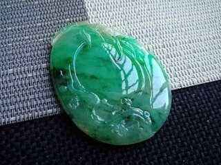 翡翠A貨有種有色水潤細膩滿色滿綠風景福貝吊墜特惠包郵順豐,配送證書,編號2716