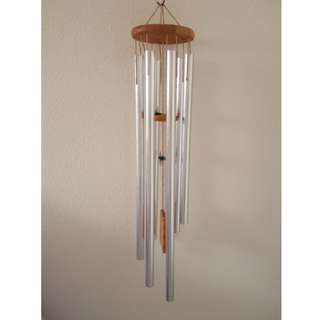 Large 60cm 6 hollow silver metal rods wind chime