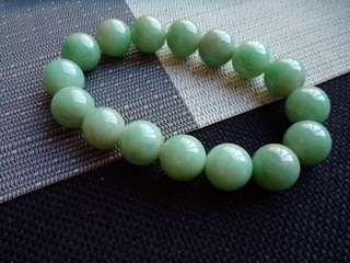 翡翠A貨種好水潤細膩滿色果綠大顆粒圓珠手鍊特價包郵順豐不議不退,直徑: 14.0毫米,配送證書,編號0480