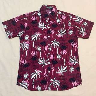 Red Palm Button Down Polo