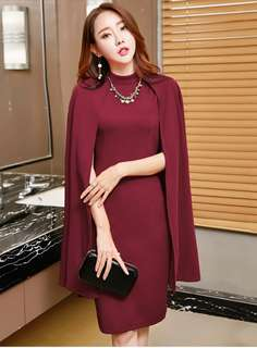 Formal: Red Brand Stand Collar Wraps Bodycon Dress (S / M / L / XL) - OA/HHD090605