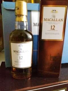 已停止生產,麥卡倫12年雪梨桶威士忌酒辦50mI,每支