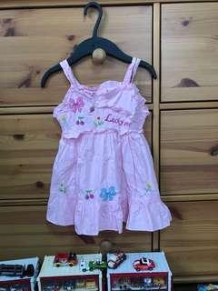 🚚 刺繡圖樣設計 粉紅 細肩帶洋裝 3T