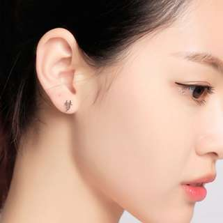Customise Silver Earring Earrings Ear Studs English Letter Chinese Character