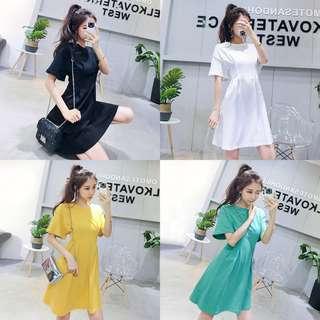 超顯瘦🔼韓版時尚簡約圓領短袖純色顯瘦褶皺修身收腰連身裙