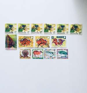 14 Old S'pore Stamps