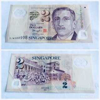 $2 note 5JW588998