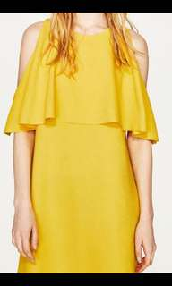 Zara yellow cold shoulder