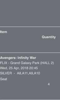 Ticket Avengers : Infinity War