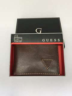 New! GUESS Men's Brown Fixed Passcase Wallet Authentic