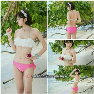 2 pcs lacy bikini with pink panty