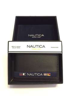 New! Nautica Men's Black Passcase Genuine Leather Wallet Authentic