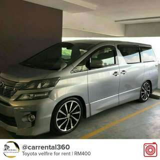 Toyota velfire for rent
