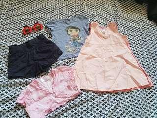 4 items, short, tshirt, bolero, gap dress