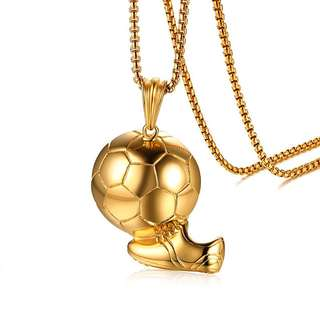 [SALES]⚽️COOL GOLD FOOTBALL PENDANT SPORTY SOCCER SHOE STAINLESS STEEL NECKLACE MEN FASHION JEWELRY⚽️