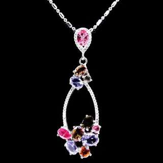 LUXURY BEAUTIFUL PENDANT MULTI COLOR TOURMALINE & TANZANITE ( BLUE ) PLATED WHITE GOLD + NECKLACE