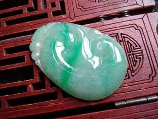 翡翠A貨種好水潤細膩滿色飄綠稱心如意吊墜特價包郵順豐不議不退,配送證書