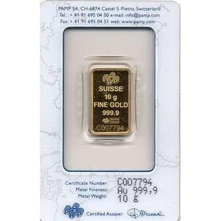 10GM PAMP SUISSE GOLD BAR