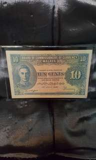 10 cent board of commissioners of currency Malaya.  1941