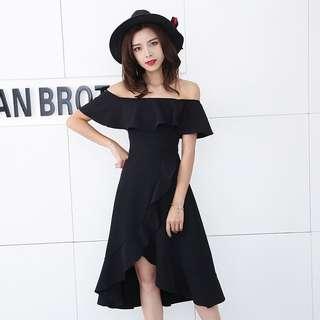 Hannah Off Shoulder Dress (Black)