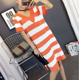Vneck Stripe Dress